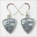 Guitar Pick w/Small Clef Earrings