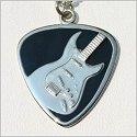 Black Enamel Guitar Pick w/Electric Guitar Necklace