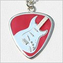 Red Enamel Guitar Pick w/Electric Guitar Necklace