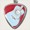 Acoustic Guitar Pick Necklace w/Red Enamel