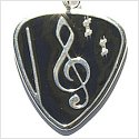 Guitar Pick with Large Clef in Black Enamel Necklace