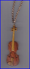 Hand Carved Wooden Violin Necklace