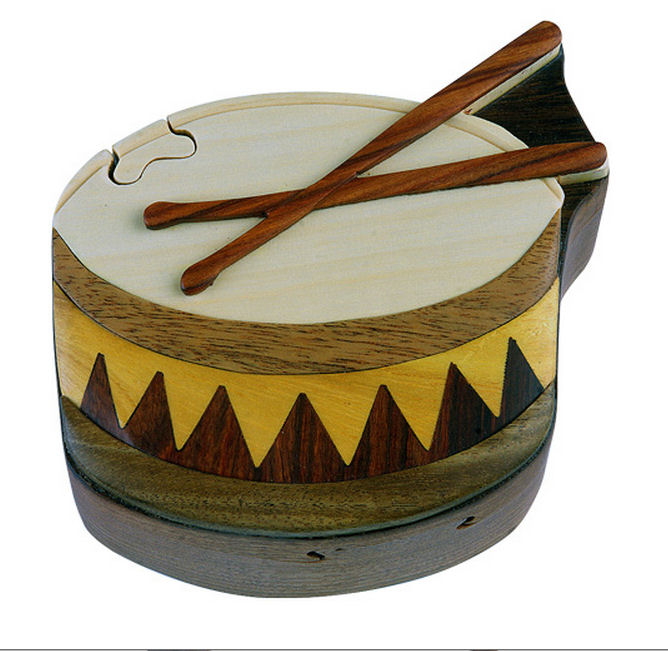 Wooden Drum Puzzle Box - $29.99 (Free Shipping)