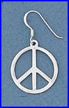 Large Sterling Peace Sign Earrings