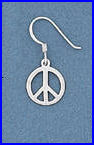 Small Sterling Peace Sign Earrings